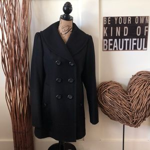 Guess double breasted black wool length coat